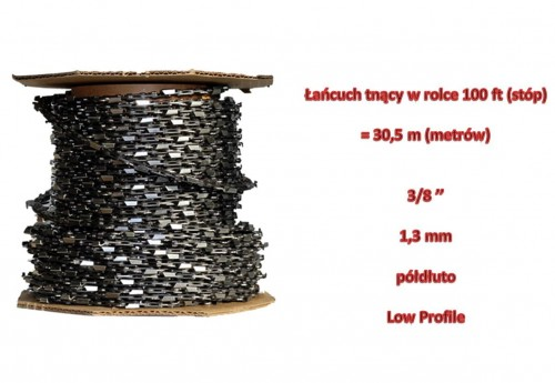"Łańcuch tnący do pił 3/8"" LP 1,3 mm półdłuto rolka 100ft"